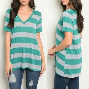 Jade Gray Stripes Top {Fantastic Fawn}